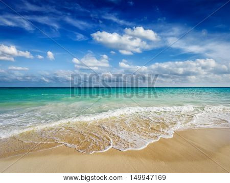 Beautiful beach and  waves of Caribean Sea. Riviera Maya, Mexico