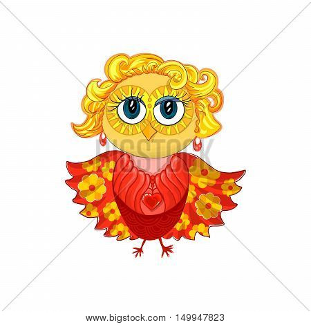 Cute feminine owl with blond hair, earrings, pendant or medallion with red heart and beautiful make up eyes. Spread wings with yellow flower pattern. Isolated vector element for cartoon design.