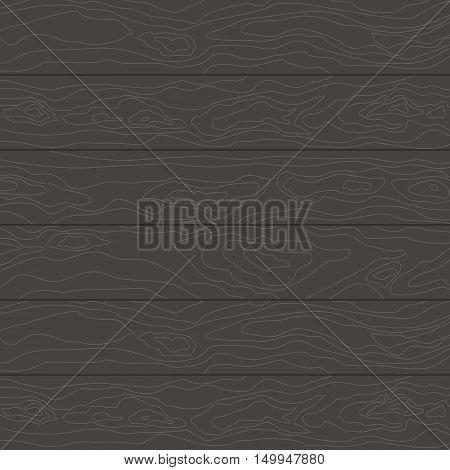 Black wood texture background. Wood texture table or wooden floor. Flat cartoon wood illustration.