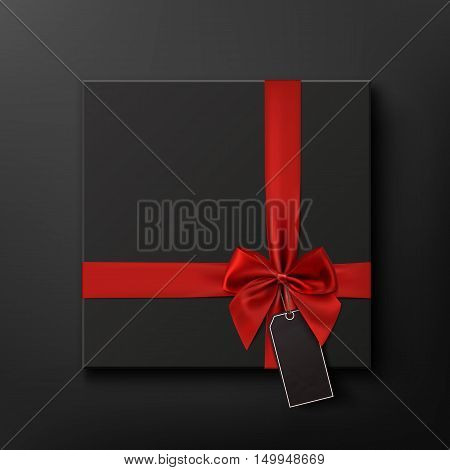 Blank, black gift box with red ribbon and price tag. Black Friday Sale conceptual background. Vector illustration.