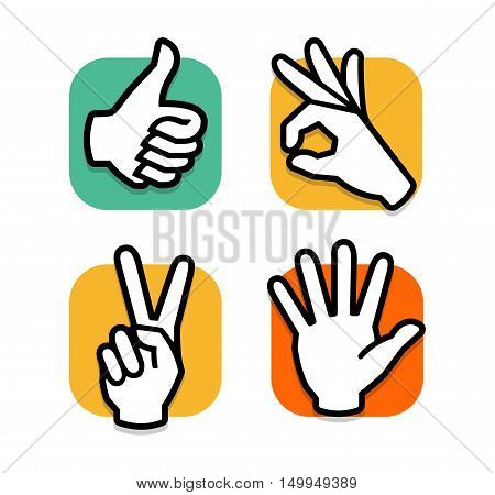 Isolated abstract colorful social network logo set. Human hands and fingers logotypes.Website buttons collection.Thumb up, ok, peace, give five signs. Like, victory, hello symbol. Vector illustration