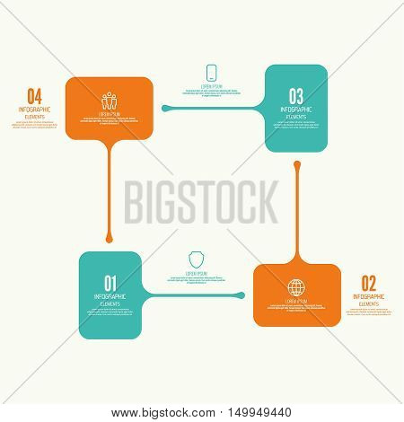 Comparative square chart with banner for presentation, informative forms. Infographic option. Info chart Process step by step. Text box infographics report template layout. Vector illustration