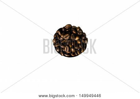 Coffee beans in a white background disposed in a circle