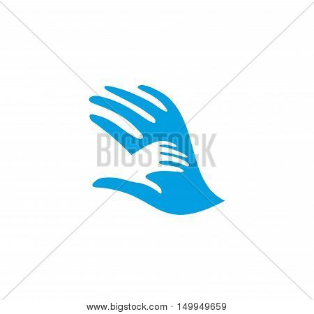Isolated abstract blue and white adult and child hands logo. Negative space family logotype. Parent and kid palms icon. Orphanage sign. Adoption symbol. Father or mother's care vector illustration