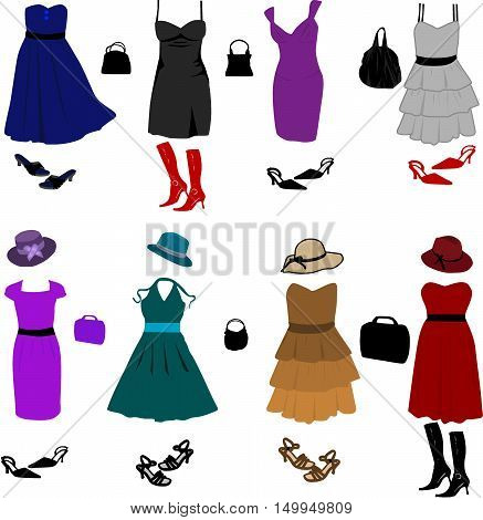 Evening dresses and accessories, Women's clothes set, vector illustration.