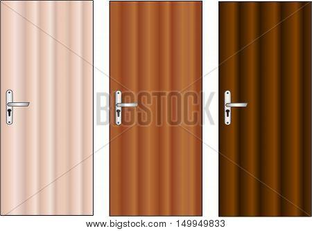 Wooden front door with handle, Vector Illustration.