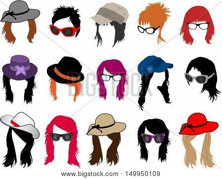 Collection of hairstyles , glasses and fashionable headwear.