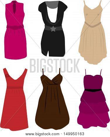 Clothing - elegant dresses. Vector ilustration .