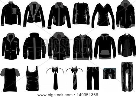 Men Dress Collection vector work. Black silhouettes.
