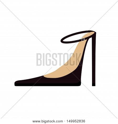 Woman Female black shoes fashion icon. High spike heels stiletto. Strap with buckle. Flat design. Isolated. White background. Vector illustration