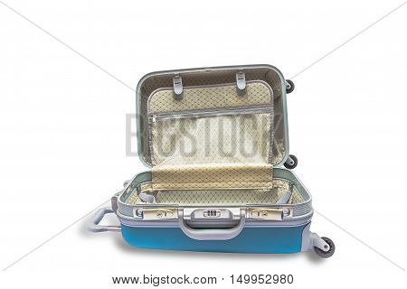 Suitcases are open isolated with clipping path.
