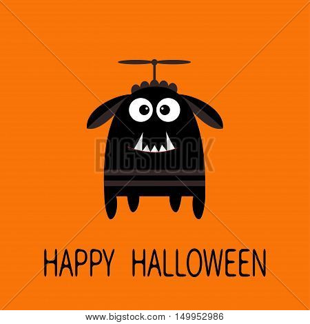 Happy Halloween greeting card. Black silhouette monster with ears fang tooth propeller. Funny Cute cartoon character. Baby collection. Flat design. Orange background. Vector illustration