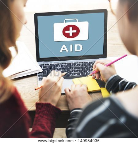 Fist Aid Kit Box Bag Cross Sign Graphic Concept