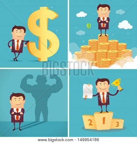Set of businessman characters standing on the winning podium holding up winning trophy, standing on the huge money staircase, with dollar sign, casting strong man shadow. Vector illustration