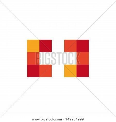 Colorful isolated mosaic cross logo. Tile element. Religious sign. Medical symbol. Hospital ambulance emblem. Doctor s office icon. Health care icon. Vector cross illustration