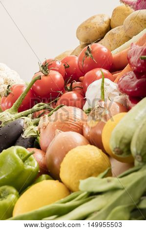 lots of different organic vegetables on white background