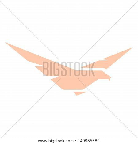 Isolated abstract pink color eagle, hawk of falcon silhouette logo. Dangerous hunting bird logotype. Wings icon. Air element. Flight sign. Airlines symbol. Vector bird illustration.