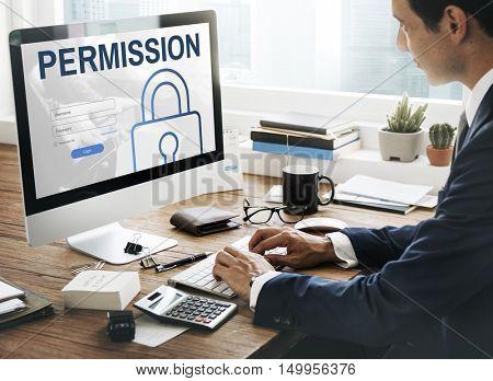 Permission Log In User Password Register Concept