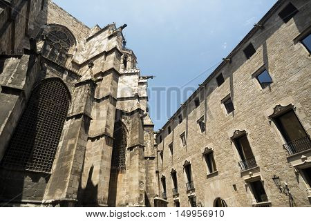 Barcelona (Catalunya Spain): the medieval cathedral in gothic style. Apse