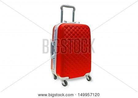 Suitcases green on white background with clipping path.