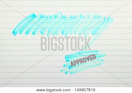Approves stamp with scribbles on a blank paper, your text can be added on colored area poster