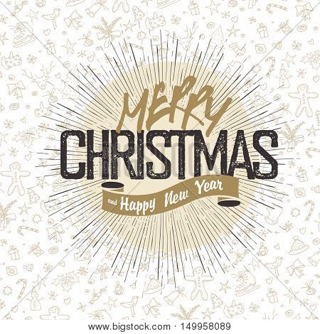 Retro Merry Christmas Card Design. Christmas greeting on dark holiday background. Vintage Merry Christmas poster design with seamless hand drawn line icons pattern background