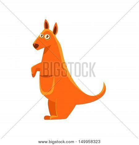 Kangaroo Toy Exotic Animal Drawing. Silly Childish Illustration Isolated On White Background. Funny Animal Colorful Vector Sticker.