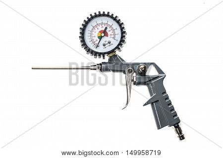 Air Compressor Gun With Manometer Isolated On A White Background.
