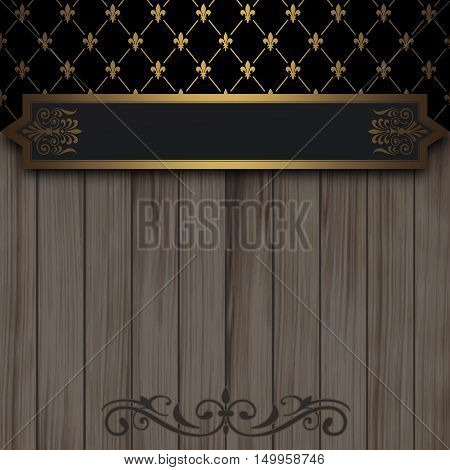 Vintage background with gold patterns, wooden planks and elegant border.