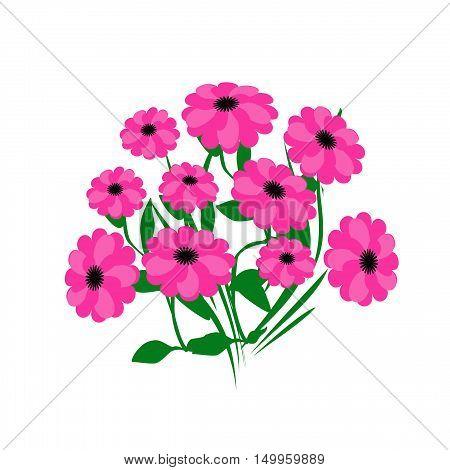 pink flower bouquet on white background illustration