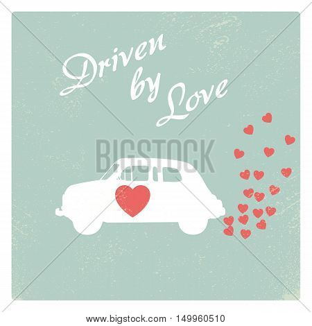 Vintage car driven by love romantic postcard design for Valentine card. Eps10 vector illustration