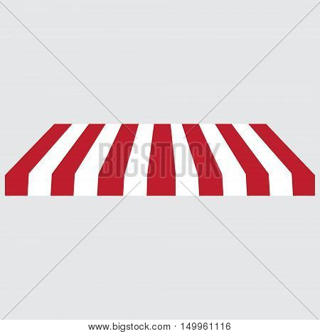 Striped red and white shopstore window awning vector icon. Striped awning canopy