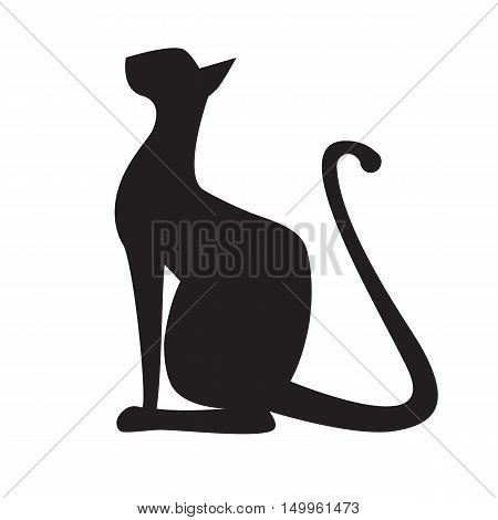 Silhouette of cat. Vector black outline oriental egyptian long-legged sitting cat. Logo for cat show pet shop pet products. Styled simple design element.
