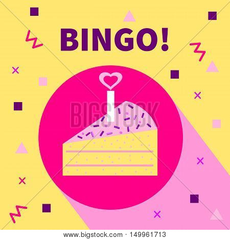 Card bingo. Vector flat icon with geometric shapes piece of cake candle with a heart.