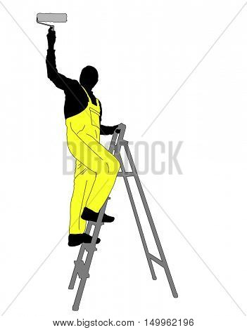 man painting a ceiling silhouette - vector