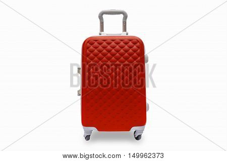Suitcases red on the white background. with clipping path.