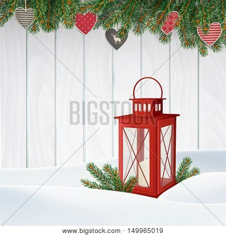 Christmas greeting card invitation. Winter scene red lantern with candle Christmas tree branches twigs holiday paper hearts decoration and snow. Old white wooden background. Vector illustration.