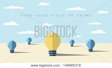 Creativity abstract background concept in modern flat design. Lightbulbs as a symbol of innovation, new ideas, technology. Eps10 vector illustration