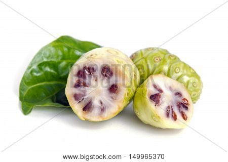 Exotic Noni Fruit Isolated On The White