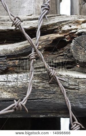 Barbed wire.