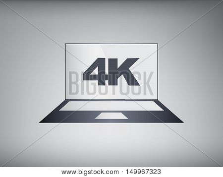 4k screen laptop computer with modern ultra hd resolution. Eps10 vector illustration