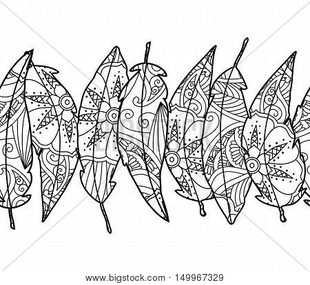 Seamless background with ornamental bird feathers isolated on white background. Good quality antistress coloring book for adult and children. Vector illustration.