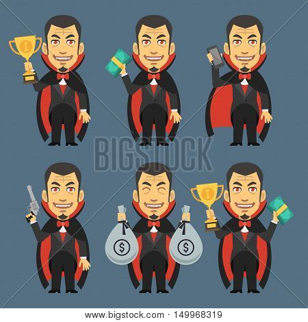 Vector Illustration, Vampire Holding Gun Money Cup, Format EPS 8
