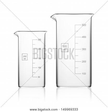 Chemical Laboratory Glassware Or Beaker. Glass Equipment Empty Clear Test Tube