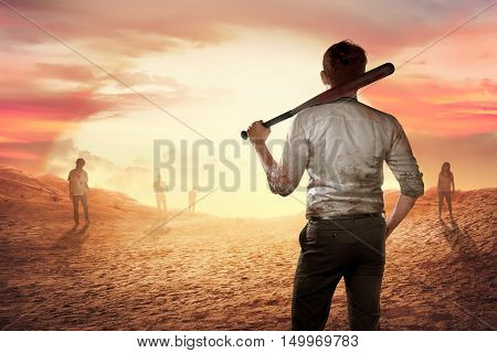 A Person Man Holding A Bloody Bat At Sunset
