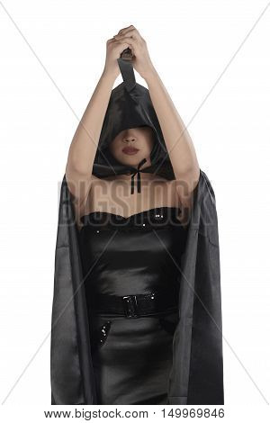 Gorgeous Asian Witch Woman With Black Cloak Holding Up Knife