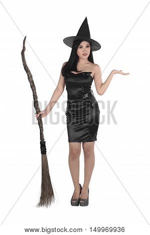 Pretty Sexy Young Asian Witch Woman With A Broom