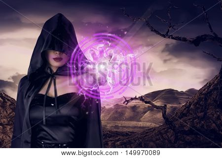 Young Asian Witch Woman Show Pink Pentagram In His Hand