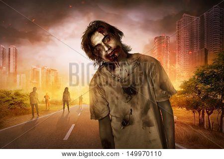 Horrible Scary Zombie Walking Around
