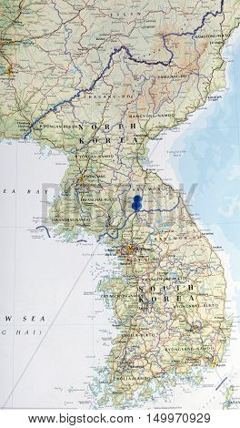 Map Of North And South Korea With Pushpin On The Boarder Illustrative Editorial